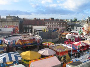 Figure 1: King's Lynn Mart Fair 2014 with Albert Evans' Waltzer, photograph by author